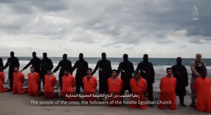 IS und koptische Märtyrer am Strand von Libyen
