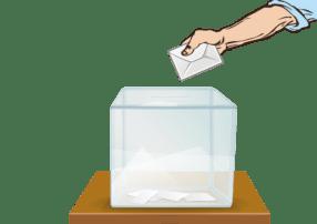 gläserne Wahlurne mit Wahlzettel und Hand