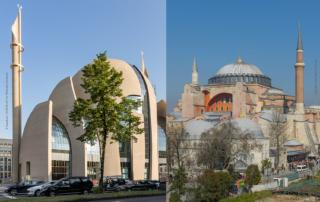 Moschee in Köln und Moschee Hagia Sophia